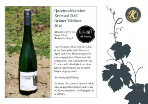 Queens white wine - Kremstal DAC Grüner Veltliner 2016